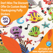 Don't Miss The Discount On Custom Made Thanksgiving Puffy Stickers – R